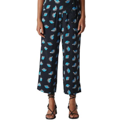 WHISTLES Navy/Blue Coral Print Trousers