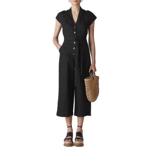 WHISTLES Black Sana Button Linen Jumpsuit