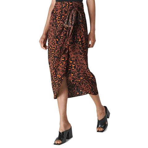 WHISTLES Multi Brushed Leopard Sarong Skirt