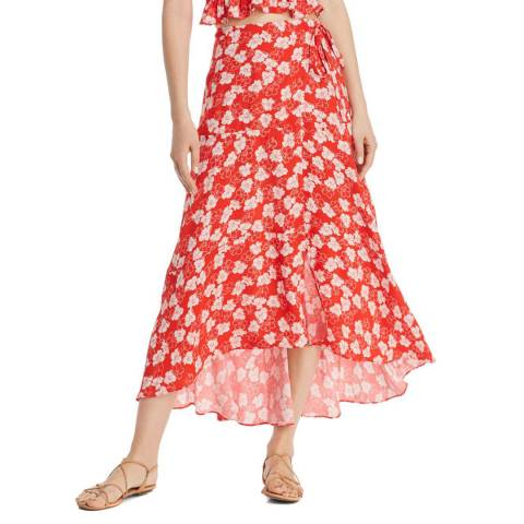 WHISTLES Red Floral Garland Wrap Skirt