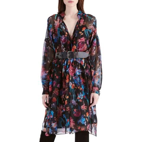 IRO Black/Multi Twist Silk Dress