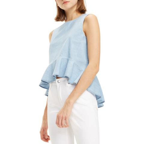 Tommy Hilfiger Light Blue Chambray Cotton Blouse
