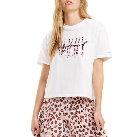 Tommy Hilfiger White Leopard Print Cotton T-Shirt