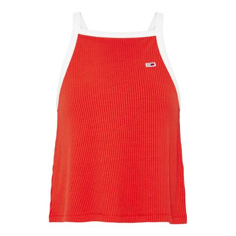 Tommy Hilfiger Red Ribbed Racer Back Top