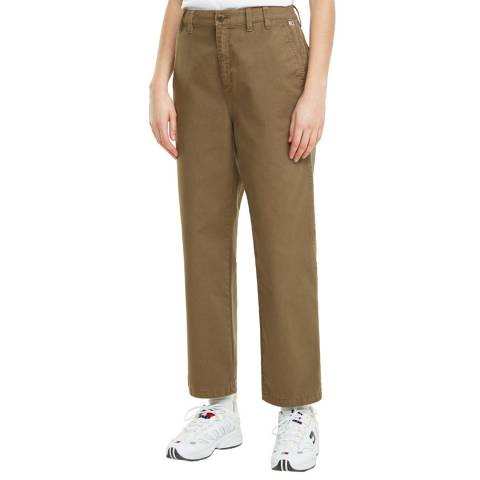 Tommy Hilfiger Khaki Straight Cotton Blend Chinos
