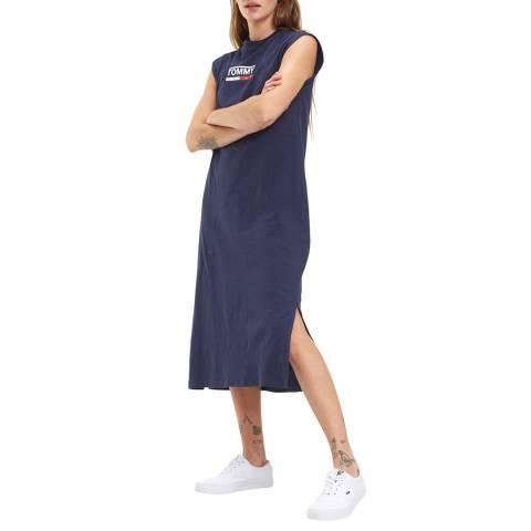 Tommy Hilfiger Navy Logo Cotton Dress