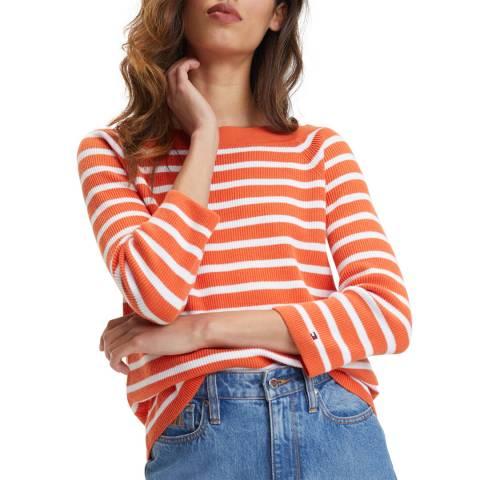 Tommy Hilfiger Orange Stripe Abbie Cotton Jumper