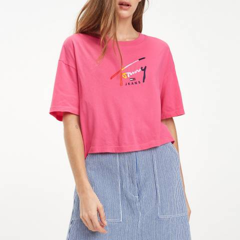 Tommy Hilfiger Pink Cropped Script Cotton T-Shirt