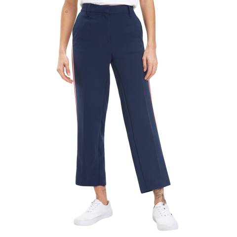 Tommy Hilfiger Navy Side Stripe Cropped Trousers