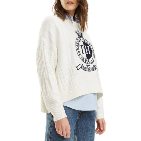 Tommy Hilfiger White Valoune Cotton Blend Jumper