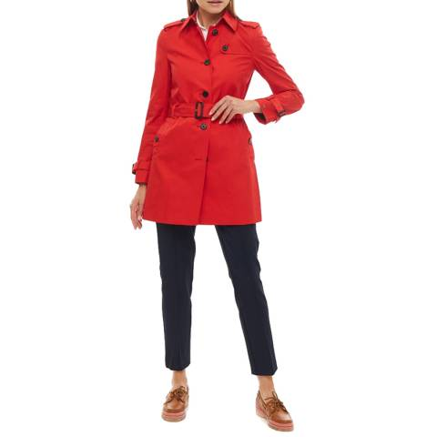 Tommy Hilfiger Red Belted Cotton Trench Coat