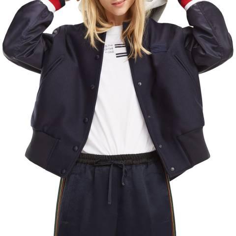 Tommy Hilfiger Navy Contrast Wool Blend Bomber Jacket