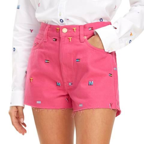 Tommy Hilfiger Pink Embroidered Denim Cotton Shorts