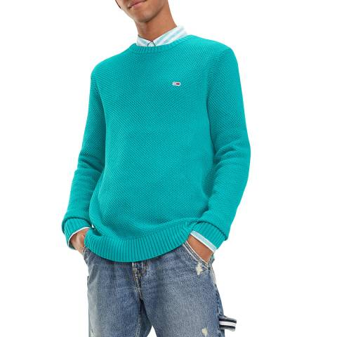 Tommy Hilfiger Turquoise Textured Crew Jumper