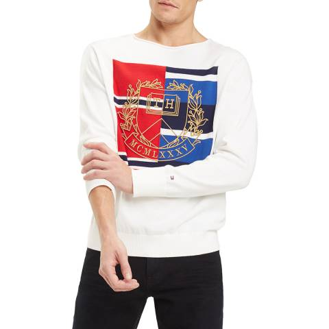 Tommy Hilfiger White Knitted Graphic Jumper