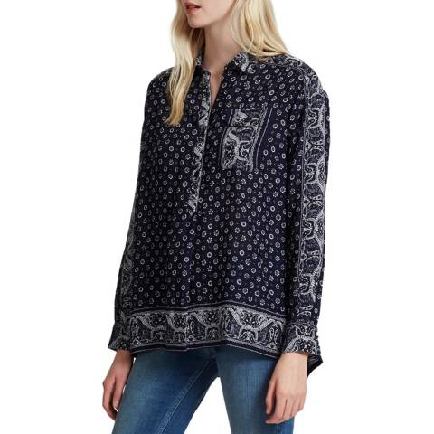 French Connection Blue Altman Voile Popover Top
