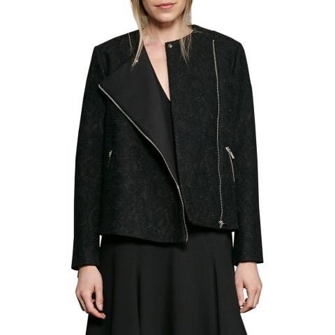 French Connection Black Delunay Lace Stretch Biker Jacket