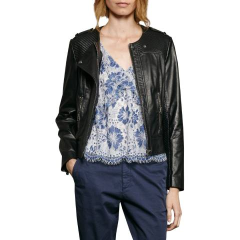 French Connection Black Gough Leather Jacket