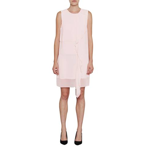 French Connection Pink James Sheer Fluted Front Dress