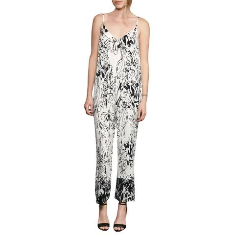 French Connection White/Black Copley Crepe Solid Jumpsuit