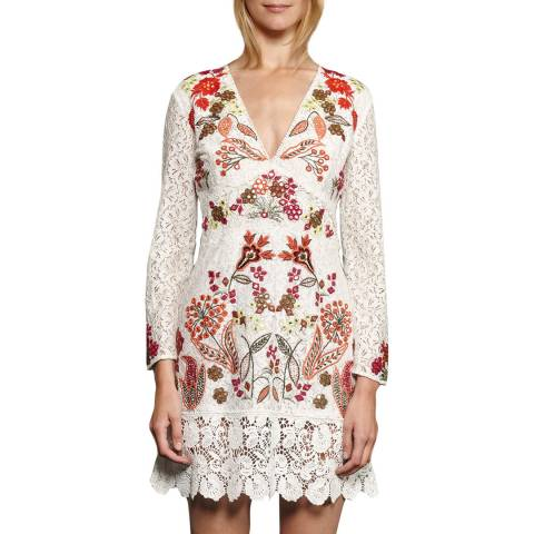 French Connection White Legere Lace Floral Embroidered Dress