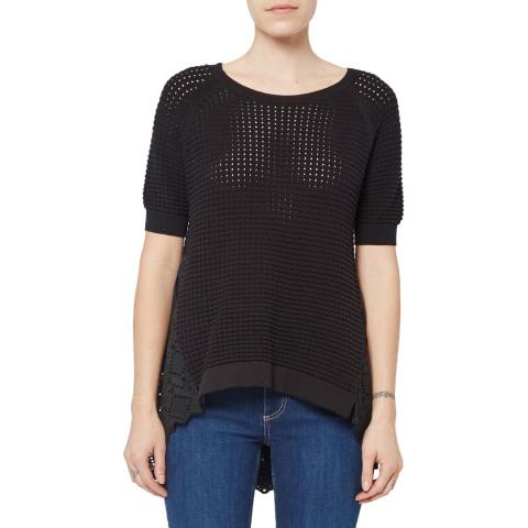 French Connection Black Bea Broderie Jumper