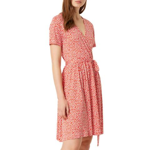 French Connection Red/White Elao Wrap Dress