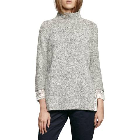 French Connection Grey/White Lola Lace Knit Jumper