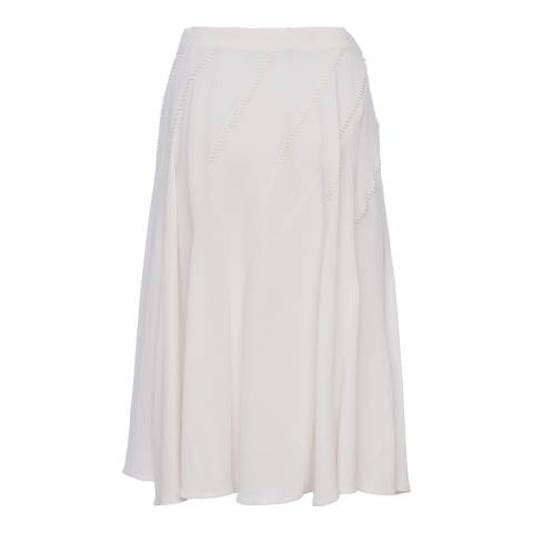 French Connection White Modern Kantha Drape Flared Skirt