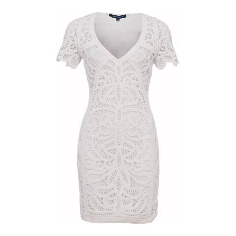 French Connection White Mesi Macrame Lace Jersey Dress