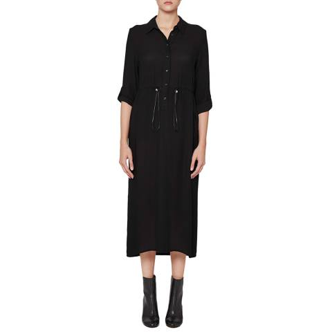 French Connection Black Cecil Long Draped Shirt Dress