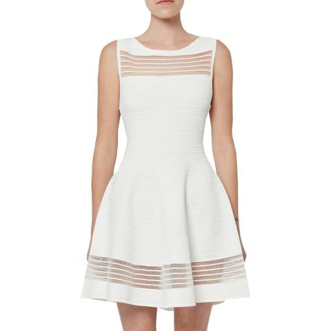 French Connection White Tobey Crepe Skater Dress