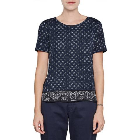French Connection Black Altman Plain Short Sleeve Top