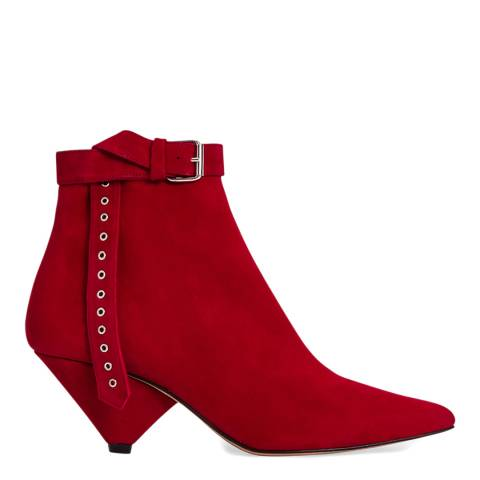 IRO Red Suede Linac Ankle Boot