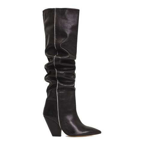 IRO Black Leather Liam High Knee Boot