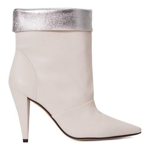 IRO Ecru White Leather Avina Ankle Boot