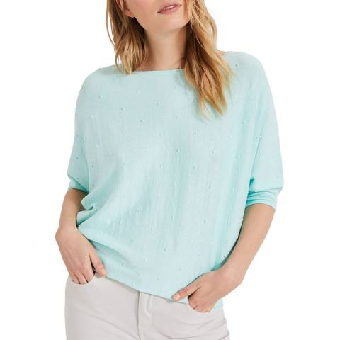 Phase Eight Light Blue Spot Becca Linen Blend Top