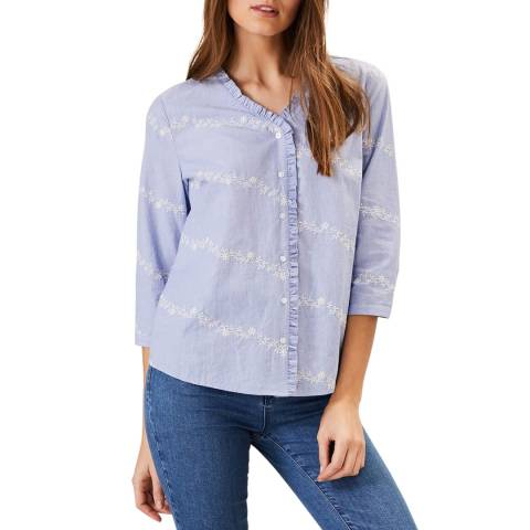 Phase Eight Blue Embroidered Daisy Shirt