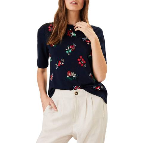 Phase Eight Navy Ditsy Chala Top