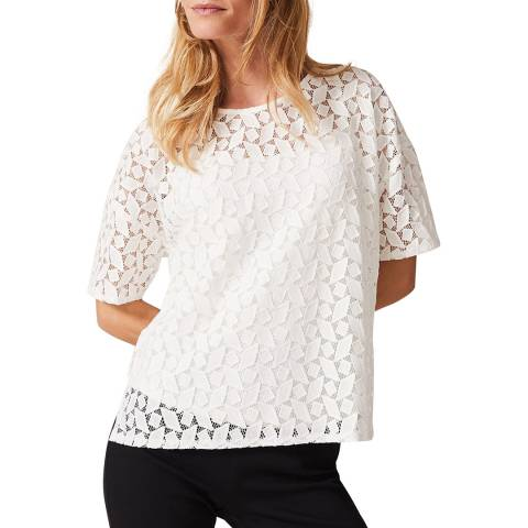 Phase Eight Ivory Rio Geo Lace Top