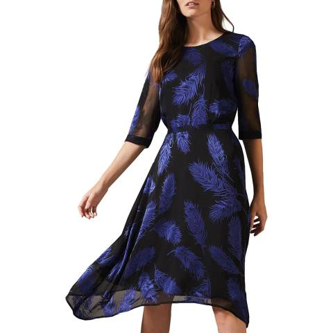 Phase Eight Blue Feather Print Devoure Dress