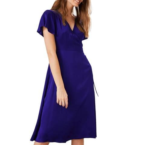 Phase Eight Cobalt Sasha Satin Wrap Dress