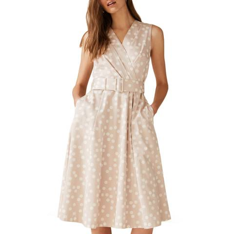 Phase Eight Beige Spot Polly Dress