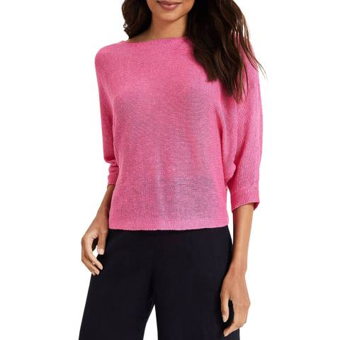 Phase Eight Pink Delmi Linen Batwing Top