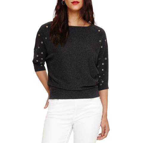 Phase Eight Charcoal Marl Eyelet Cristine Top