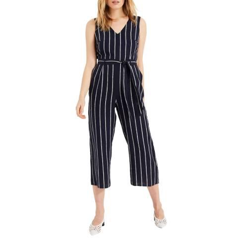 Phase Eight Navy Stripe Jennie Linen Jumpsuit