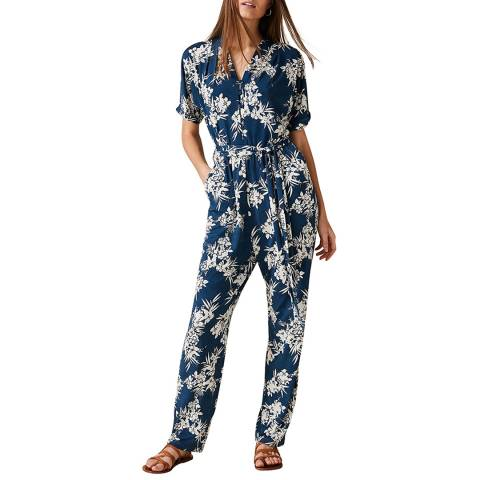Phase Eight Blue Palm Print Clancy Jumpsuit