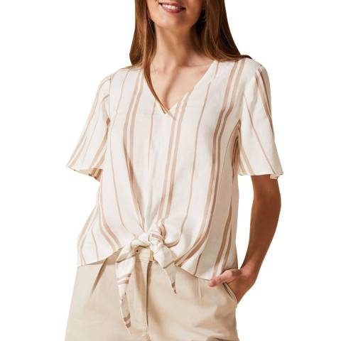 Phase Eight Beige Stripe Leanna Blouse