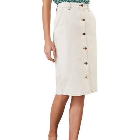 Phase Eight White Ellama Denim Skirt