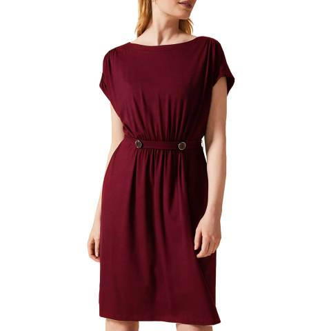 Phase Eight Burgundy Fawn Button Dress